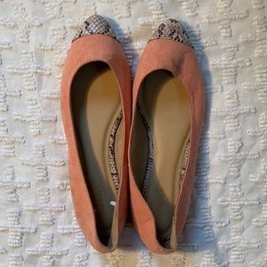 Gently worn dusty pink and snake print flats